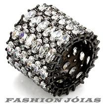 Anel Em Ródio Com Gotas De Zirconias - Luxo - Exclusivo