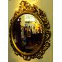 Espelho Redondo Facetado Em Madeira Dourada Estilo Barroco