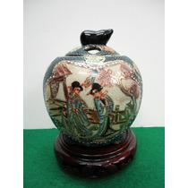 Faiança Pote Antiga Pintada A Mão Japão
