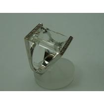 Anel De Ouro Branco 18k Com Diamantes E Pedra Preciosa