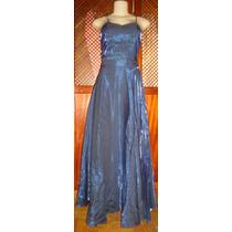 Vestido Festa ,longo Azul,viscose, Saia E Blusa,veste 36
