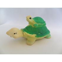 Brinquedo De Vinil Boneco Antigo Tartaruga Com Filhote