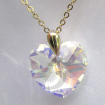 Colar Coração Swarovski Elements Banho Ouro 1151