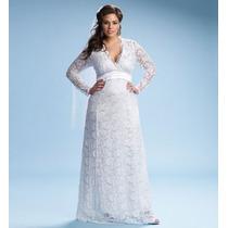 Vestido De Noiva De Renda Manga Longa Plus Size Sob Medida