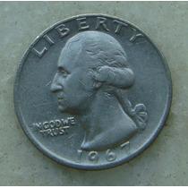 318 Eua - Quarter Dollar 1967 Sem Letra - Serrilha 24mm