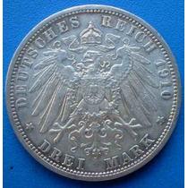 Alemanha-prussia-moeda Prata-3 Mark-1910-35 Mm. Letra A-