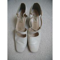 Sapato Feminino C/ Salto Creme Nº 37 Couro Inclusive Solado