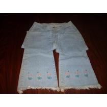 Calça Jeans 44 Com Bordado Na Barra - Brechochic2012