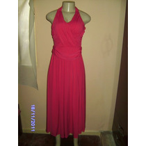 Vn109 - Vestido Longo Pink Drapeado Frente Unica