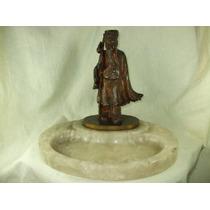 Escultura Estatua Em Bronze De Sabio Chines Base Em Onix