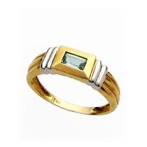 Anel Em Ouro Amarelo E Branco 18k Com Pedra Natural Topázioá