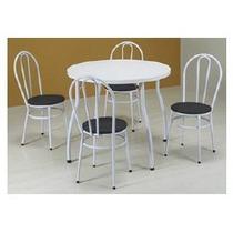 Mesa De Jantar Tampo Bp Redonda + 4 Cadeiras - Fil Móveis