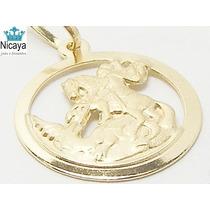 Nicaya Pingente São Jorge Guerreiro Em Ouro 18k-750 Maciço