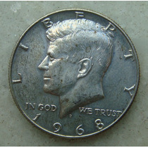 281 Usa Half Dollar 1968 S/letra - 30mm - Prata Liberty