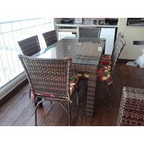 Mesa Olanda Com 6 Cadeiras Em Aluminio Com Fibra Sintética