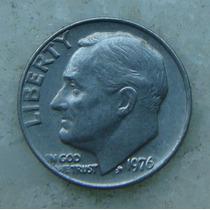 584 - Usa One Dime Liberty, Ano 1976, Sem Letra - Tocha 18mm