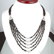 Espinelio Negro Diamante Colar Facetado 5 Linhas 412 Cts