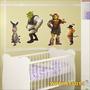 Adesivo Digital De Parede Shrek Fiona Burro Gato Wprit0014