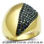 Anel Folheado A Ouro 18k Safira Cristal Swarovski - Luxo
