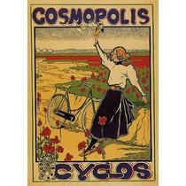 Cosmopolis Jardim Flores Mulher Bicicleta Poster Repro