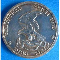Alemanha-moeda Prata-1913- 3 Mark- Waterloo -napoleão