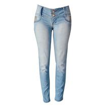 Calça Jeans Clara Com Strass E Detalhes De Oncinha