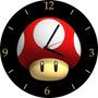 Relógio De Parede Em Vinil Cogumelo Vermelho Mario Bros