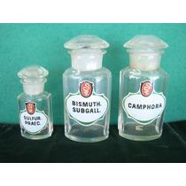 Conj. De Vidros De Farmácia Antigos Alemães - 3 Peças