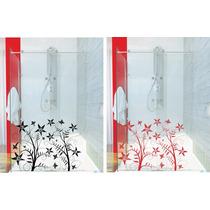 Adesivo Decorativo Parede Box Banheiro Porta Floral Flor