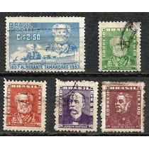 066 Sls- Brasil- 5 Selo Postal Antigo- Carimbado- 1954- 1957