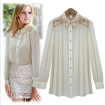 Camisa Blusa Renda Chiffon Seda Floral Importada Elegante