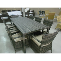 Mesa De Jantar Em Alumínio E Fibra Sintética De 2,20mt