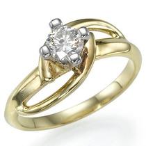 Anel Ouro18k!diamante15 Pontos,frete E Caixa Presente Free!