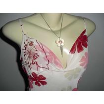 Vestido Indiano Floral Tam ( M ) + Colar E Brincos