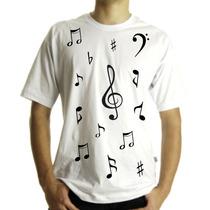 Camiseta Ou Baby Look Adulto E Infantil Notas Músicais