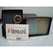 Relógio De Pulso Mondaine Antigo C/baralho Novo Anos 80