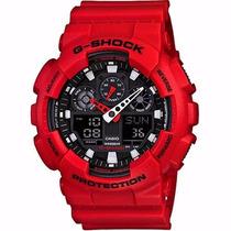 Relógio Casio G-shock Ga100b4adru Militar Vermelho Esportivo