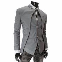 Blazer Masculino Casaco Luxo Estilo Europeu Assimétrico Plus