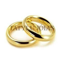 Aliança Folheada C\3 Camadas De Ouro 24k 5mm