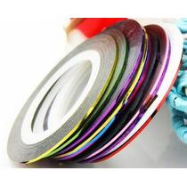 100 Rolos De Fita Adesiva Metalizada Para Unha