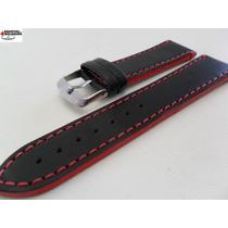 Pulseira Couro Preta 18mm Costura E Lateral Vermelha Luxo