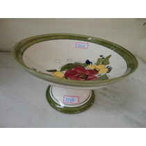#7187# Fruteira Porcelana Decorada Verde Escuro!!!