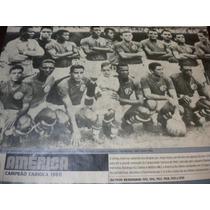 Poster América Campeão Carioca 1960 21x27 Cm Placar
