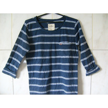 Camiseta Listrada Hollister Manga Longa Pp = 60cm X 48cm