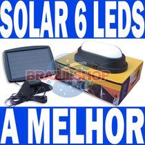 Luminária Solar Recarregável 6 Leds Parede Teto Piso Piscina