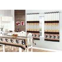 Cortina De Cozinha + Toalha 4 Cadeiras + Cortina De Pia