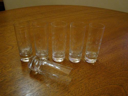 16524abd895 6 Copos Em Cristal Hering Para Vodka Da Década De 50 Natal