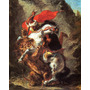 Arabe No Cavalo Atacado Por Leão Pintor Delacroix Tela Repro