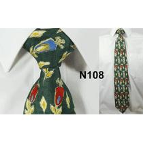 Gravata Vintage De Seda Pura Retrô Verde Floral Vintage N108