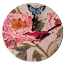 Relógio De Parede Pássaro Vermelho E Flor Rosa
